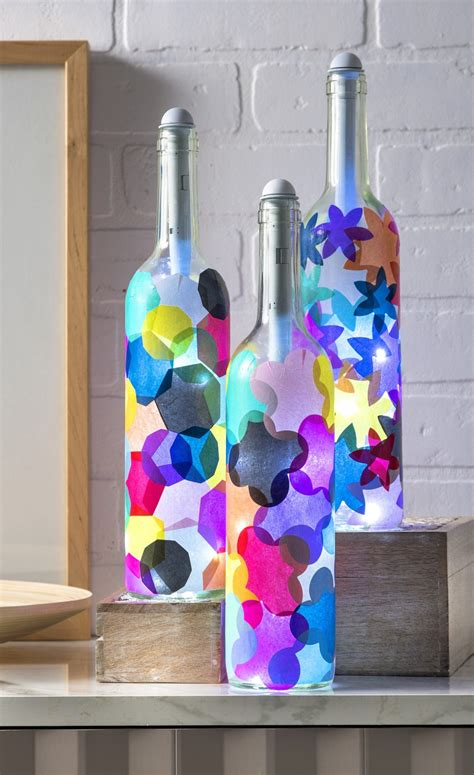 wine bottle crafts light my bottles mod podge rocks