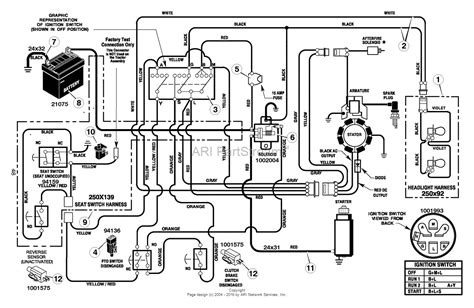 murray xf lawn tractor  parts diagram  electrical system