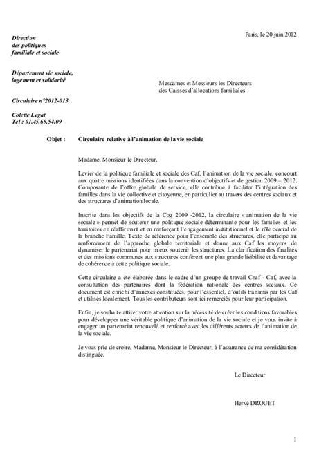 Lettre De Recommandation Rédaction Circulaire Cnaf Avs N2012 013 Du 20 Juin 2012