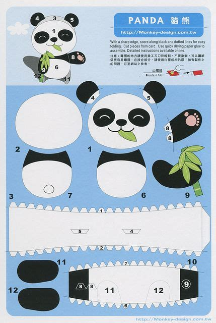 paper panda templates panda cut out postcard flickr intercambio de fotos