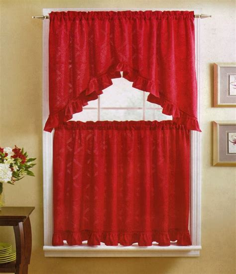 red kitchen curtain poinsettia diamond kitchen curtain valance tiers set red