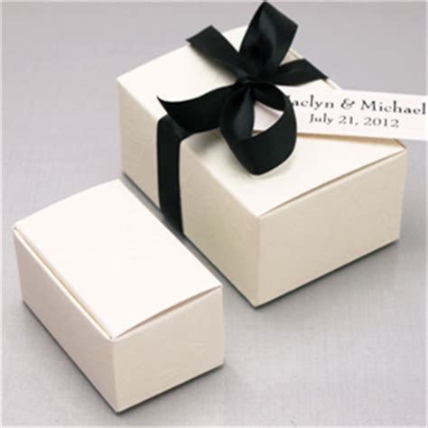 Embossed Rectangular Favor Box   Ivory Wedding Favor Boxes
