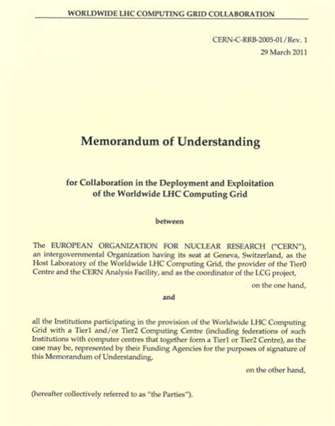 simple collaboration agreement template memorandum of understanding wlcg memorandum of