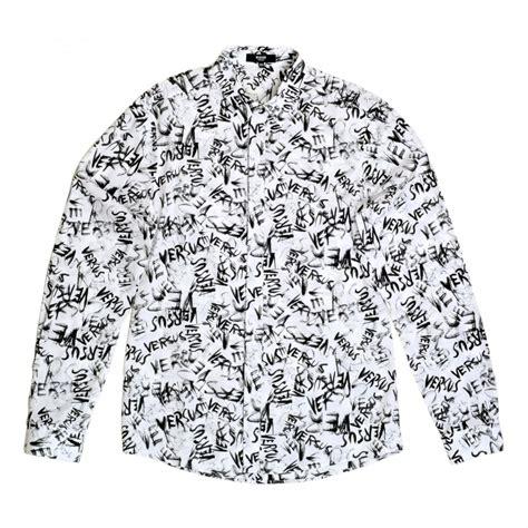 white versace shirts  men  black graffiti print