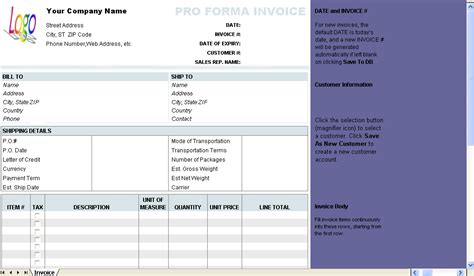 invoice template xp free proforma invoice template information and download
