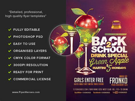 Back To School Drink Special Flyer Template Flyerheroes Specials Flyer Template
