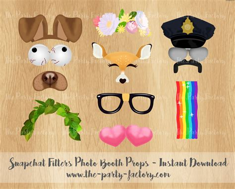 printable photo booth props snapchat snapchat filters photo booth props instant download printables
