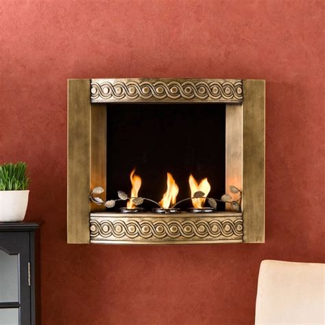 Modern Gel Fireplace by Southern Enterprises Antique Gold Brushed Wall Mount Gel