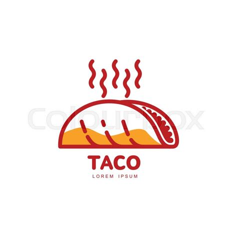 taco template stylized freshly made mexican taco logo template