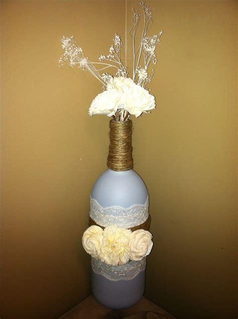 Wine Bottle Vase Centerpieces by Grey Blue Wine Bottle Centerpiece Flower Vase Etsy Store