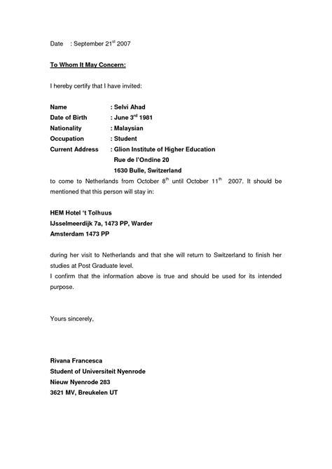 invitation letter format schengen business visa