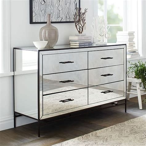 mirrored dresser mirrored 6 drawer dresser west elm