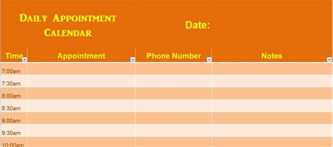 Daily Appointment Calendar Template Formal Word Templates Daily Appointment Template