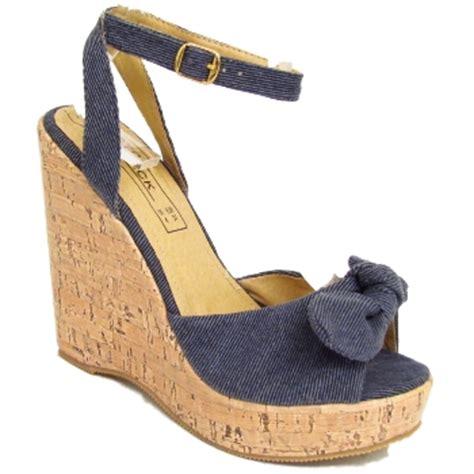blue denim wedge platform sandals shoes size 3 8