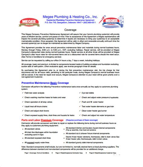 Contract Plumbing Contract Templates 21 Free Word Pdf Documents