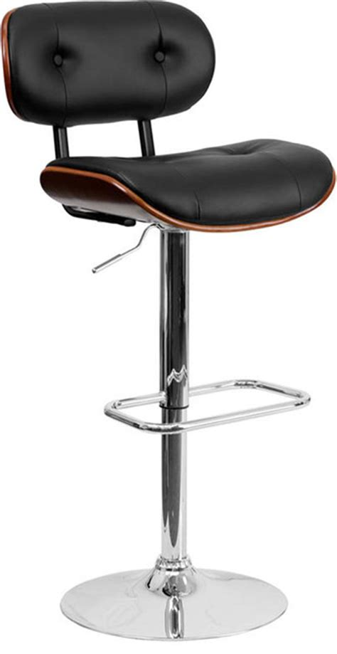 Vinyl Fabric For Bar Stools by Walnut Bentwood Adjustable Bar Stool With Button Tufted