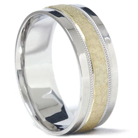 mens 950 platinum 18k gold hammered wedding band ring