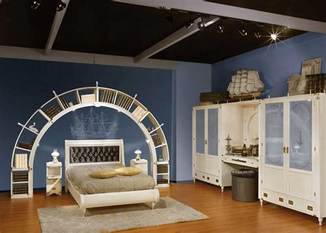 blue  white sea theme kids bedroom design interior