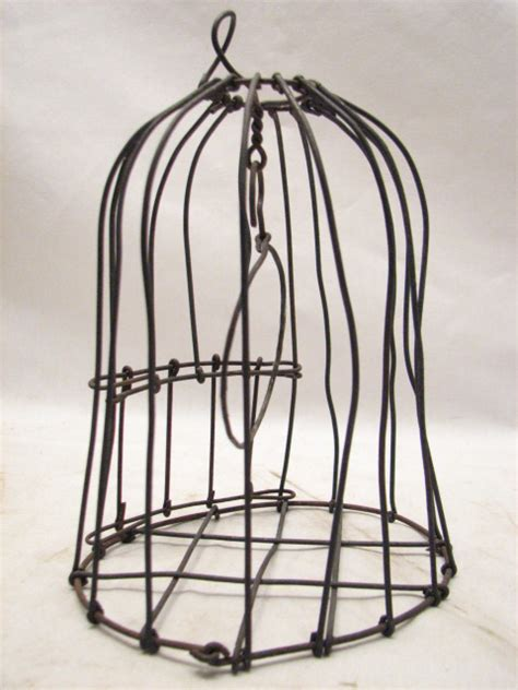 primitive hand made small wire bird animal cage decorative
