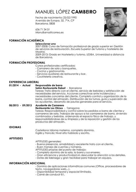 Modelo Curriculum Vitae Para Hosteleria modelo de curr 237 culum v 237 tae camarero de barra camarero de barra cv plantilla livecareer