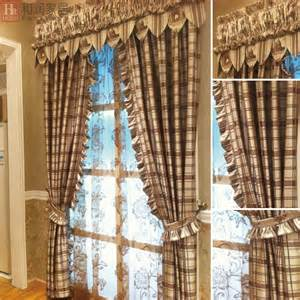 Country Curtains For Living Room Country Feeling Semi Shade Stripes Plaid Living Room Bedroom Curtains In Curtains From Home