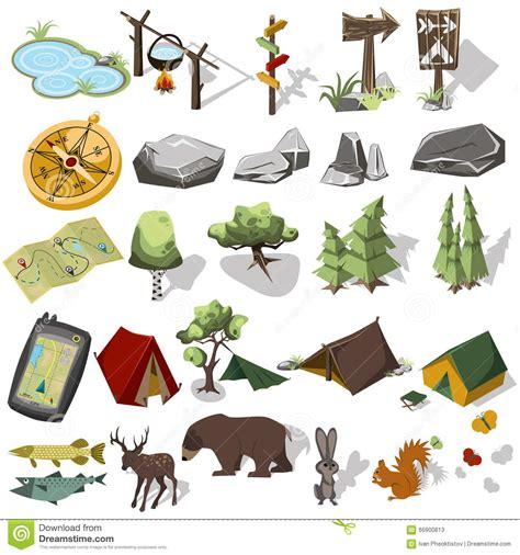 landscape design elements vector illustration isometric 3d forest hiking elements stock vector image