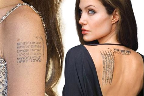 angelina jolie geography tattoo angelina jolie s tattoos pictures and their meanings