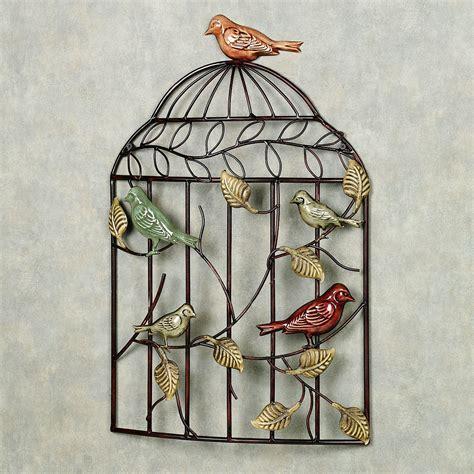 Metal Bird Wall Decor by Bird Sanctuary Cage Metal Wall