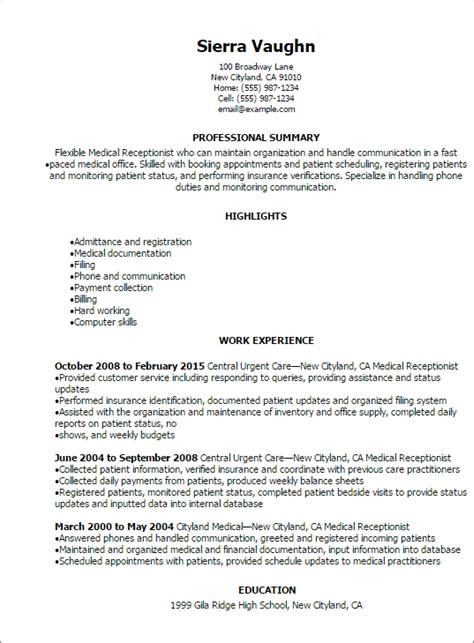 sle resume for receptionist jennywashere