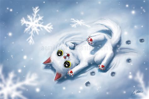 Snow Happy happy cat in the snow by leamatte on deviantart