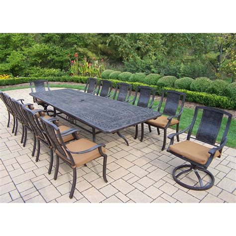 Outdoor Dining Sets For 10 Oakland Living Aluminum Swivel Rocker 11 Pc