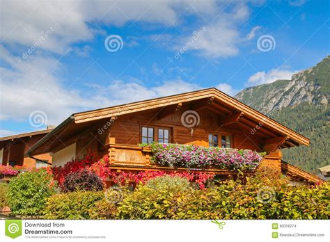 small traditional house design in tirol austria traditional wooden house in tyrol austria stock photo