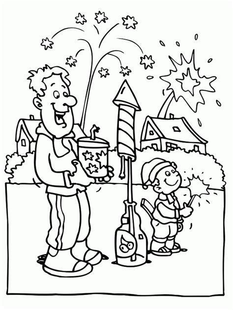 new year picture to colour play fireworks in new year coloring pages new year