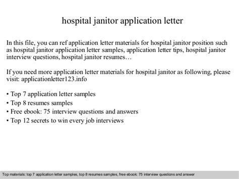 Application Letter Janitor hospital janitor application letter