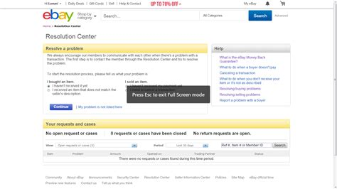 ebay resolution centre in resolution centre are not any already opened re