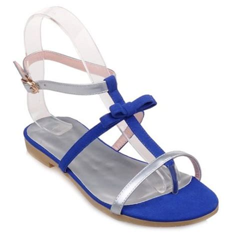 Silver Bowknot Flat Sandal Shoes Import casual s sandals with splicing and bowknot design in