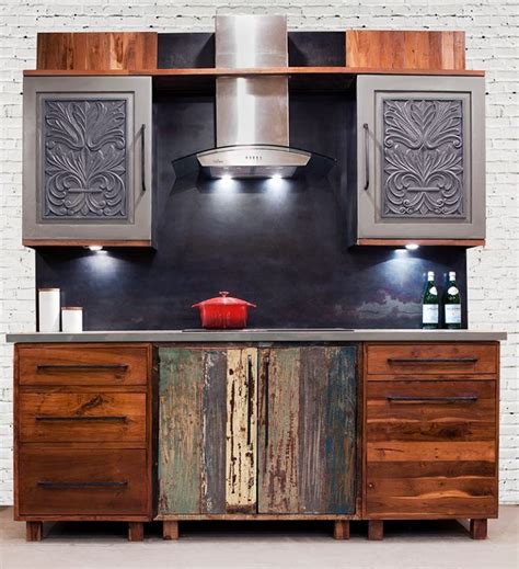 distressed wood kitchen cabinets kitchen cabinets from reclaimed wood by inde art design