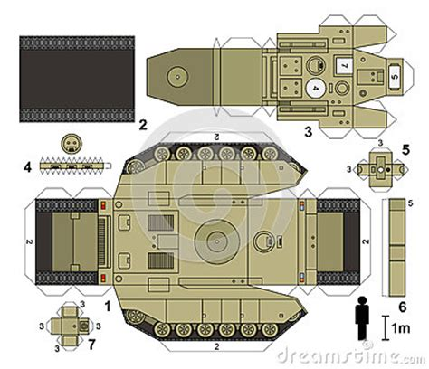 Papercraft Tank - paper engine model paper model of a tank not a