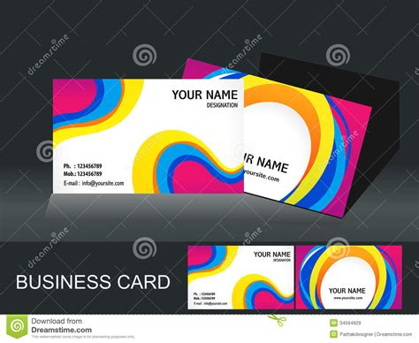 colorful business card templates free abstract colorful business card template stock vector