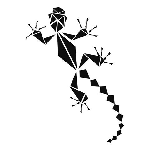 geometric gecko tattoo design