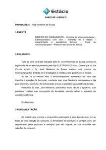 PARECER JURÍDICO CASO 1 - Direito Civil III