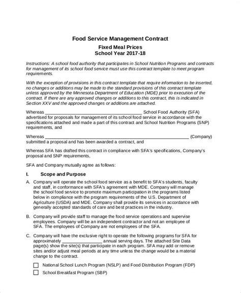 7 Contract Food Service Sles Sle Templates Food Contract Template