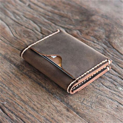 Handmade Leather Card Wallet - inside out whatever wallet minimalist from joojoobs on etsy