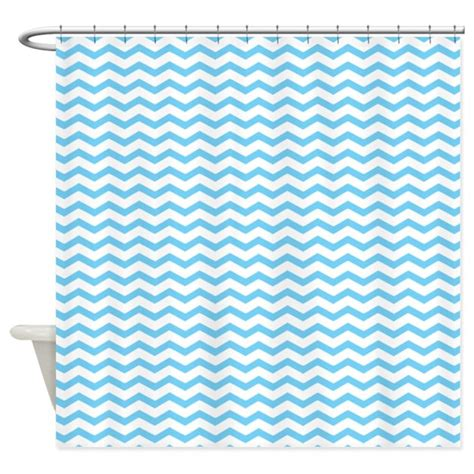 chevron blue curtains light blue chevron shower curtain by inspirationzstore