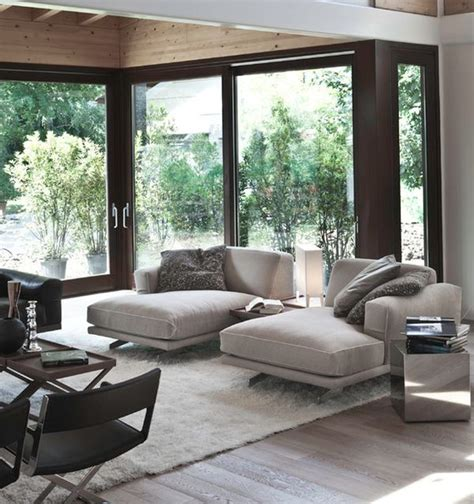 The Living Room Lounge | soft contemporary living room with chaise lounges in cool