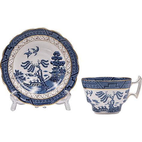 willow pattern with gold trim booths real old willow blue cup saucer gold trim from