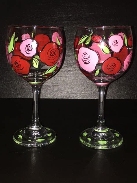 paint nite wine glasses paint nite retro roses wine glasses