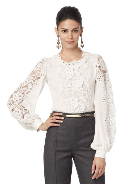 Lace Rienta lace sleeve blouse collar blouses