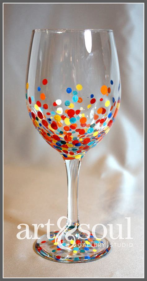 wine glass painting frosting glitter dot wine glass to this i
