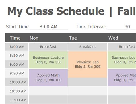 Class Schedule Excel Template by Student Schedule Office Templates